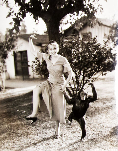 Joan Blondell adorable monkey