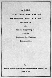 The cover of the Motion Picture Production Code, adopted by the MPDA in 1930.