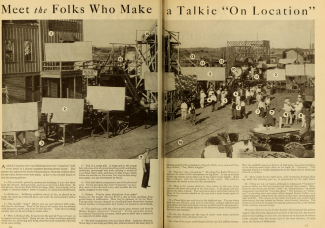 A layout in Photoplay details all of the personnel involved in creating a talking picture outdoors during the shooting of Cimarron. Click for full size.