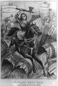 Woman's Holy War political cartoon that portrays the then-new temperance movement in action.
