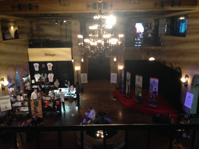 The Roosevelt Hotel's lobby area from the balcony. The TCM Boutique sells festival related items such as books by appearing stars, mugs, magnets, and t-shirts. No bobble headed Robert Osbornes, though.