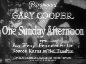 One Sunday Afternoon 1933 Gary Cooper Fay Wray pre-Code