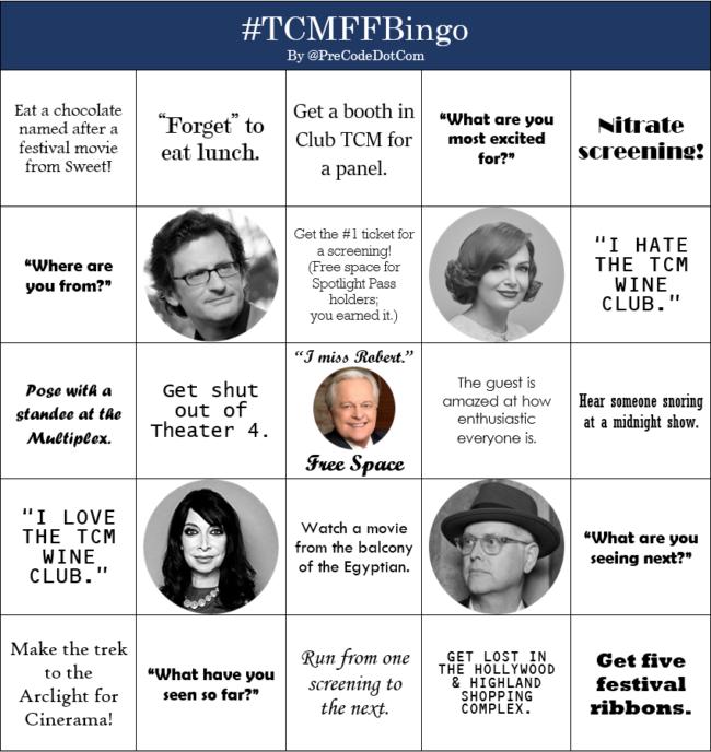 TCMFF Bingo turner classic movies film festival bingo