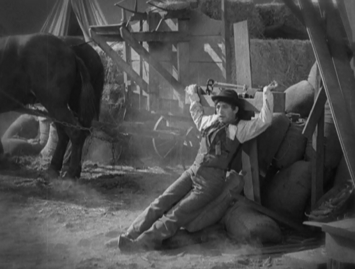 Yes, this is the Jewish guy after he's attacked by some bandits. Very subtle, movie.