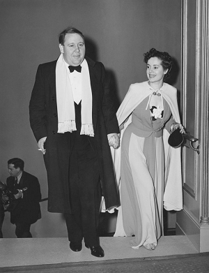 Charles Laughton arriving. He would win Best Actor for The Private Life of Henry the VIII.