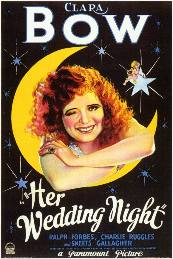 The more salacious you could make a movie seem-- this poster for Her Wedding Night (1930) winks at the audience both figuratively and literally-- the bigger the draw.