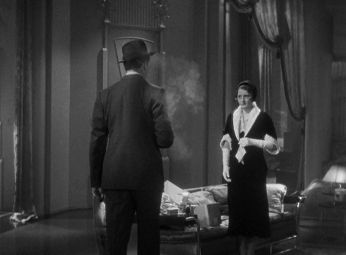 Hornsby making his threats. Again, back to the audience; Capra actually has him sitting in a way so that for part of the scene where Florence is in her apartment, unaware of her presence, we have the same perspective as him. The actor for Hornsby, Hardy, is excellent in this picture, making the man despicable but not cartoonish. He's vile through and through, but stays true to life at the same time.
