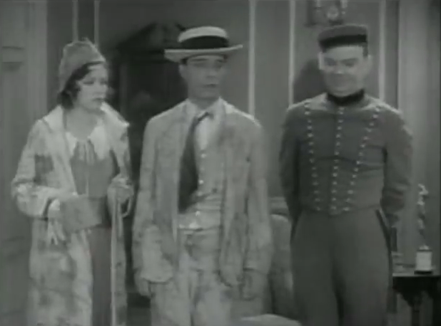 Oh, hey, on the right, it's Cliff Edwards again. Here he's a bellboy who always shows up at the wrong time, both in terms of the film's story and comedic potential.