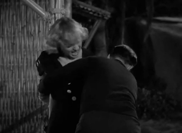 Frantic screaming and a woman being tied up-- always the highlight of a romantic comedy.