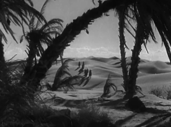 The shot of them arriving at the oasis, as foreboding and dangerous as you'd see in any horror film.