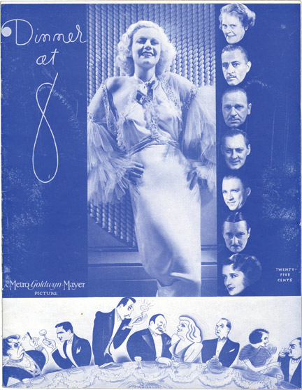 The cover of Dinner at Eight's publicity book.