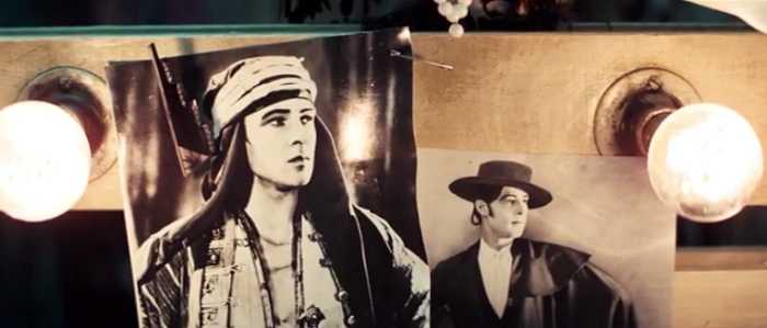 A less intentional in-joke is this close-up of the photos of Rudolph Valentino. Russell would go on to direct a very-loosely adapted biopic of the famous silent star in 1977.