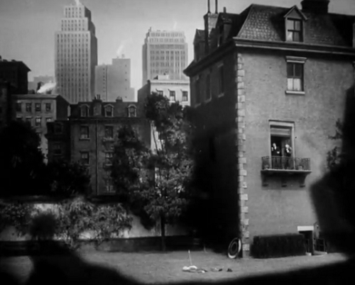 In this shot, a skyline has been inserted painstakingly while the actors on the ground and balcony are real.