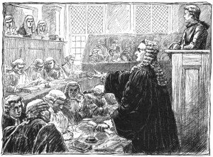 An imagined version of the Zenger trial. From Wikipedia.