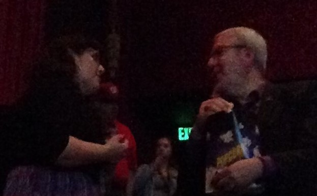Christina Rice thanking Leonard Maltin for the kind review of her book.